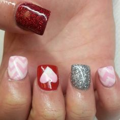 Instagram: @boop711 Valentine's day nails Acrylic nails with baby pink and red shellac with silver and red glitter.  Chevron, and an ombre heart.