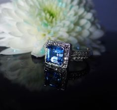 Blue Topaz Ring Princess Cut Sterling Silver by greengem on Etsy, $275.00
