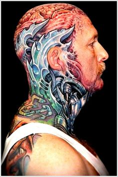 Cool Bio-mechanical Tattoo designs: Artists Biomechanical Tattoo Design For Men On Head ~ Tattoo Design Inspiration