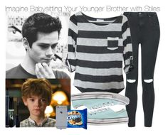 """""""Imagine Babysitting Your Younger Brother with Stiles"""" by fandomimagineshere ❤ liked on Polyvore featuring Topshop, Paul Brodie, Gabriella Rocha, Converse, Christian Dior and kitchen"""