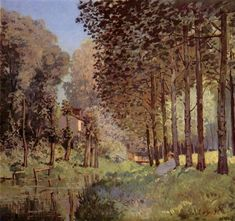 Therestbesided`unCreek, 1872 by Alfred Sisley. Impressionism. landscape. Musée d'Orsay, Paris, France