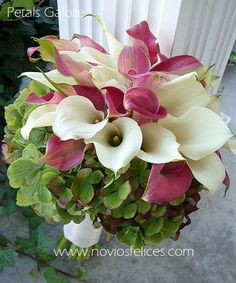 Bouquet con calas blancas y calas fucsia