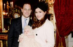 Christening of Maud Elizabeth Daphne Marina Windsor, daughter of Lord and Lady Frederick Windsor and granddaughter of Prince and Princess Michael of Kent, December 16, 2013.  Maud is wearing the replica of the antique christening gown recently worn by her distant cousin Prince George of Cambridge.