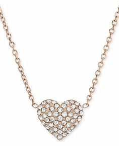 Michael Kors Necklace, Rose Gold-Tone Crystal Heart Pendant Necklace - Fashion Jewelry - Jewelry & Watches - Macy's