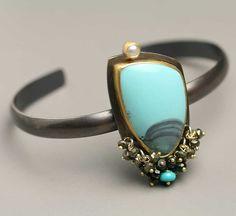 Turquoise Landscape Cuff Bracelet by fussjewelry on Etsy, $348.00