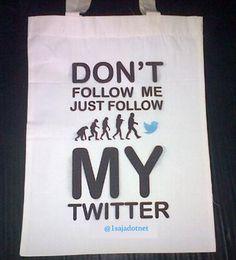 buat tas kanvasmu dan masukkan twitter mu sendiri.. Tas kanvas yang bisa dicostumize sesuai keinginan