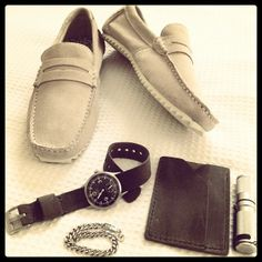 """My #everydaycarry #essentials today. New beige suede #loafers, my cool #techne watch with a custom #BasandLokes grey one piece #watchstrap, a custom grey matching """"Rex"""" slim wallet, silver #maratac flashlight and a magnetic bracelet. #accessories #passportwallet #natostrap www.BasandLokes.com"""