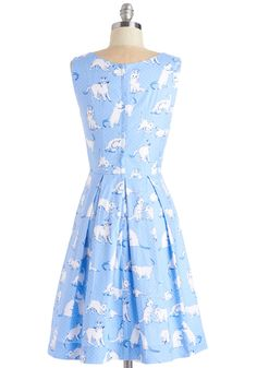 Chalk of the Town Dress in Kittens. Your block party comes to life with the eye-catching pictures painting the sidewalk, as well as the lively pattern that decorates this light blue dress - a ModCloth exclusive by Bea  Dot! #blue #modcloth