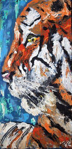 Tiger portrait <3 Modern, impressionist palette knife painting of a regal Bengal tiger by artist Tara Richelle