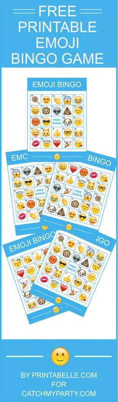 Free Printable Emoji Bingo Game -- comes with 8 bingo cards and instructions! This is the perfect birthday party activity! | CatchMyParty.com