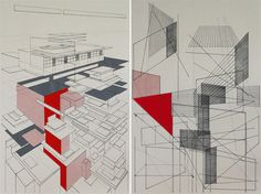 These screenprints by Ben Kafton are really fantastic explorations of drafting. They remind us that there was a time when buildings began by hand, on paper.