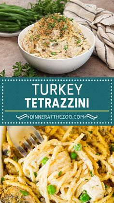This turkey tetrazzini contains diced turkey, mushrooms and peas, all tossed with pasta in a creamy sauce, then baked to perfection. A hearty casserole that's the perfect way to use up leftover turkey!