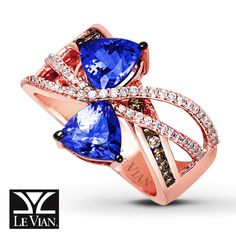 LeVian Tanzanite Ring 5/8 ct tw Diamonds 14K Strawberry Gold OHHHH MY LANTA