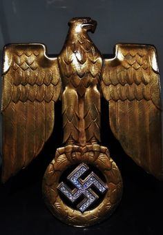 """Golden eagle with diamonds from a award document for the """"Oak Leaves with Swords and Diamonds to the Knight's Cross of the Iron Cross"""". Portuguese private collection"""
