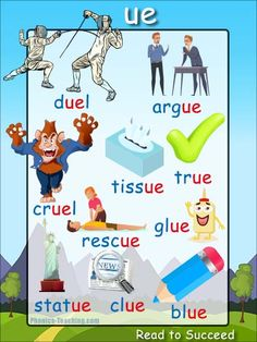 ue words - FREE Printable Phonics Poster - words with ue in them - Perfect for Word Walls, Auditory Discrimination and Spelling Lessons Phonics Chart, Phonics Flashcards, Phonics Blends, Flashcards For Kids, Phonics Words, Phonics Worksheets, Phonics Activities, Phonics Reading, Teaching Phonics