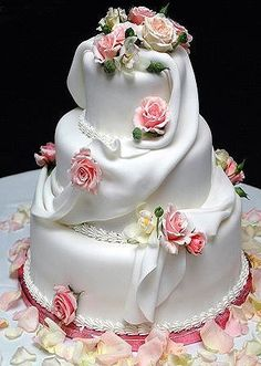 Winter Wedding Cake Beautifully molded roses and very delicate draping. Beautiful Wedding Cakes, Gorgeous Cakes, Pretty Cakes, Cute Cakes, Amazing Cakes, Cake Wedding, Unique Cakes, Elegant Cakes, Creative Cakes