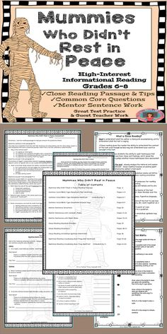 Close reading that's high-interest for grades 6-8!  Perfect for test preparation and practicing close reading strategies (tips and annotation marks included).  Common Core questions are exactly what you'll need to sneak in test prep throughout the year. Mentor sentences and text annotation tips and guides.   Great for when you need a guest teacher.  Directions and tips are part of this 21-page unit! *Great test prep early in the year *High-interest reading passage *Differentiated vocabulary