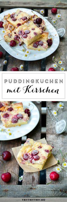 Puddingkuchen mit Kirschen #kuchen #pudding #kirschen #puddingkuchen