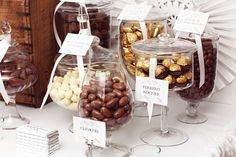 Candy jars at a Chocolate Wedding Party  #wedding #chocolate