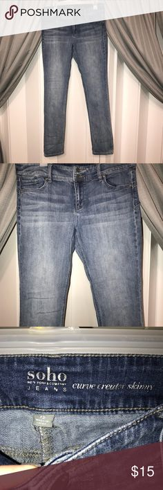 New York and company soho jeans Gently used skinny jeans with a lite denim wash. Look cute rolled up or worn full length. New York & Company Jeans Skinny