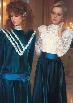 Gunne Sax, Seventeen magazine, November 1984.> good way to emphasize that 'wide shoulder' look w/o needing shoulder pads = lace ruffles &/or contrasting trim