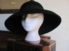 Vintage Black Wool Wide Brim Hat Street Smart by Betmar 1950s
