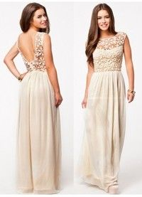 Elegant Sheer Lace Scoop Neck Open Back Chiffon Long Prom Dress
