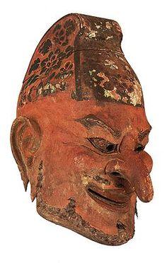 『伎楽面 酔胡王』 正倉院宝物のなかには、具体的にいつどこで使用されたか推測できるものがかなりある。たとえば、伎楽面がそれ。752年(天平勝宝4年)、東大寺で華々しくおこなわれた大仏開眼供養で用いられたものらしい。