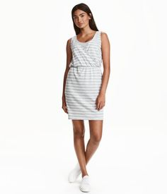 Light gray/striped. Short, sleeveless nursing dress in soft jersey with a…
