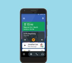 Developed by Google, the smartphone projection 'Android Auto' app shows three cards on the screen that display the most relevant bits of information.