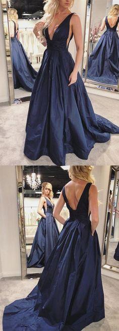 deep v neck navy blue long prom dress with pockets, 2018 long prom dress, formal evening dress, graduation dress #Graduationdresses
