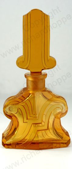 VINTAGE GLASS: ART DECO SCENT & PERFUME BOTTLES. c.1930s ART DECO MOULDED & CUT AMBER GLASS SCENT BOTTLE, CZECHOSLOVAKIAN. To visit my website click here: http://www.richardhoppe.co.uk or for help or information email us here: info@richardhoppe.co.uk
