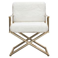 Diva Directors Chair in White Faux Fir w/ Gold Metal Frame - Diamond Sofa DIVACHWHThe Diva Directors Chair is a classy, yet sassy addition to your home's décor. w/ its White faux fir seat & back on the gold finished metal frame, the look results in Contemporary Armchair, Modern Contemporary, Powell Furniture, Guest Room Office, White Sofas, Coaster Furniture, White Fabrics, Accent Chairs, Modern Furniture