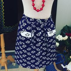 Excited to share this item from my shop: Vintage/flower/button down/skirt/jamstorp/design/flowery/navy and white nordic island preppy skirt/weekend at the lake skirt/size 4 USA Unique Vintage, Vintage Ladies, Vintage Shops, Vintage Items, Preppy Skirt, Flower Button, White Button Down, Skirts With Pockets, Vintage Skirt