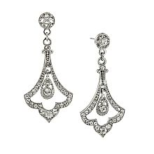 Downton Abbey Silver Tone Edwardian Pave Crystal Fleur Drop Earrings with Crystal Accent Top - ShopPBS.org
