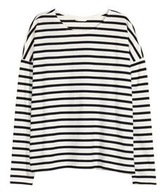H&M: Striped Jersey Top. White/striped. Top in soft striped jersey with dropped shoulders and long sleeves.