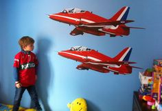 Red Arrows mural on my Grandson's bedroom wall. Painted with emulsions.