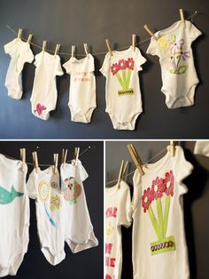 Great baby shower activity!  Decorate baby onsies with iron on applique and hang on cloths line as decoration during the party.  Mom will love these custom onsies for her little one!