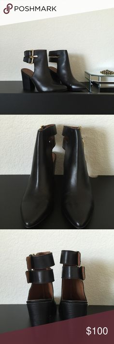 """Shoemaker Alivia Boot This item has been used. Great condition. Black leather with gold hardware. pointed toe. Approx 3.5"""" heel. True to size Shoemint Shoes Ankle Boots & Booties"""