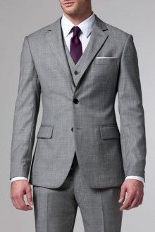 Grey 3 piece suit ll This is perfect for J's tuxedo. Maybe grey tie with dark purple shirt? I would have to see how that looks and see how the groomsmen could look different slightly. ll WEDDING THEME ll ATTIRE ll
