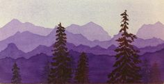 Purple Mountains, watercolor, by Cheri Ward