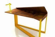 Fun Table ▶ Work Table Design #serimkanmaz #fun #table #worktable #mydesign #designer #yellowmetal #wood #energeticdesign #furnituredesigner #dynamicdesign #style #conceptdesign #form #style #studydesk #interior #decoration #scrivania #schreibtisch #disegno