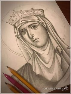 Blank Coloring Pages, Sketching Techniques, Byzantine Icons, Orthodox Icons, Art Drawings Sketches, Religious Art, Art Auction, Face Art, Line Drawing