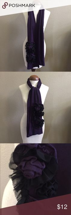 Beautiful black and purple scarf. Lightweight black and purple scarf adorned with flower accent. Feminine but not too feminine. Give your outfit a little zip. ☺️ Accessories Scarves & Wraps