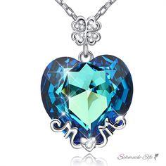 Anhänger Glücks Herz MOM Zirkonia Meerblau aus Edelstahl ve
