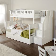 Atlantic Furniture Columbia Twin over Full Stairway Bunk Bed from White Bunk Beds With Stairs Twin Over FullWhite Bunk White Bunk Beds, Wood Bunk Beds, Modern Bunk Beds, Bunk Beds With Stairs, Full Bunk Beds, Kids Bunk Beds, Loft Beds, Bed Stairs, Trundle Beds