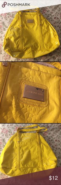 "Oversized Gianni Bini Adorable Yellow Oversized purse. In great condition inside, the outside has quite a few marks on it. Height: 17"". Width: Top: 11"" Middle:18"" Bottom: 17"". Feel free to ask questions and make offers! Giani Bernini Bags"