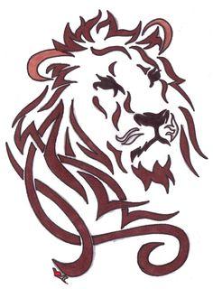 Wonderful Tribal Lion Head Tattoo Design