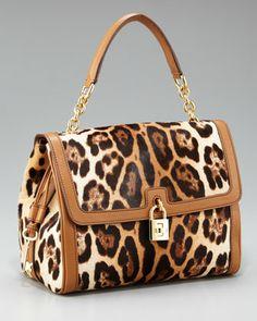 Dolce & Gabbana Dolce Leopard-Print Calf Hair Bag - Neiman Marcus
