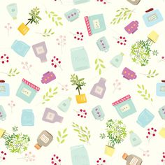 a cute illustration of bottles and jars